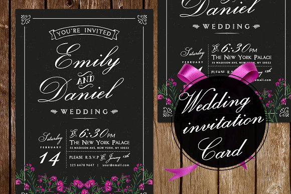 Black White Wedding Invitation Invitations