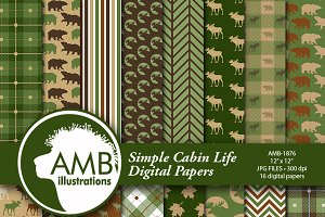 Green Rustic Cabin papers AMB-1876