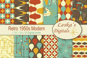 1950's Retro Digital Paper Pack