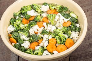 Bowl of fresh vut vegetables
