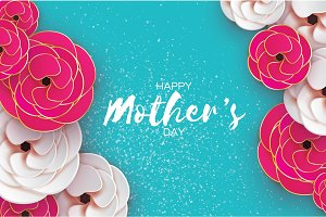 Happy Mothers Day Greeting card. Women's Day. Paper cut pink gold flower. Origami Beautiful bouquet. Space for text.