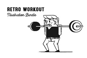 Retro Workout Illustration Bundle