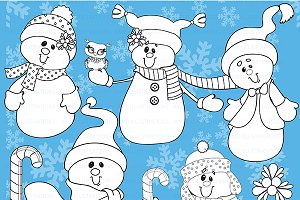 Snowmen Digital Stamps AMB-190
