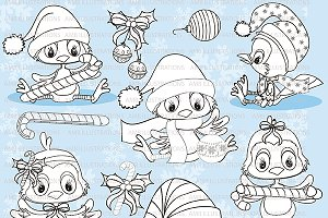 Christmas Bird Clipart Stamp AMB-194