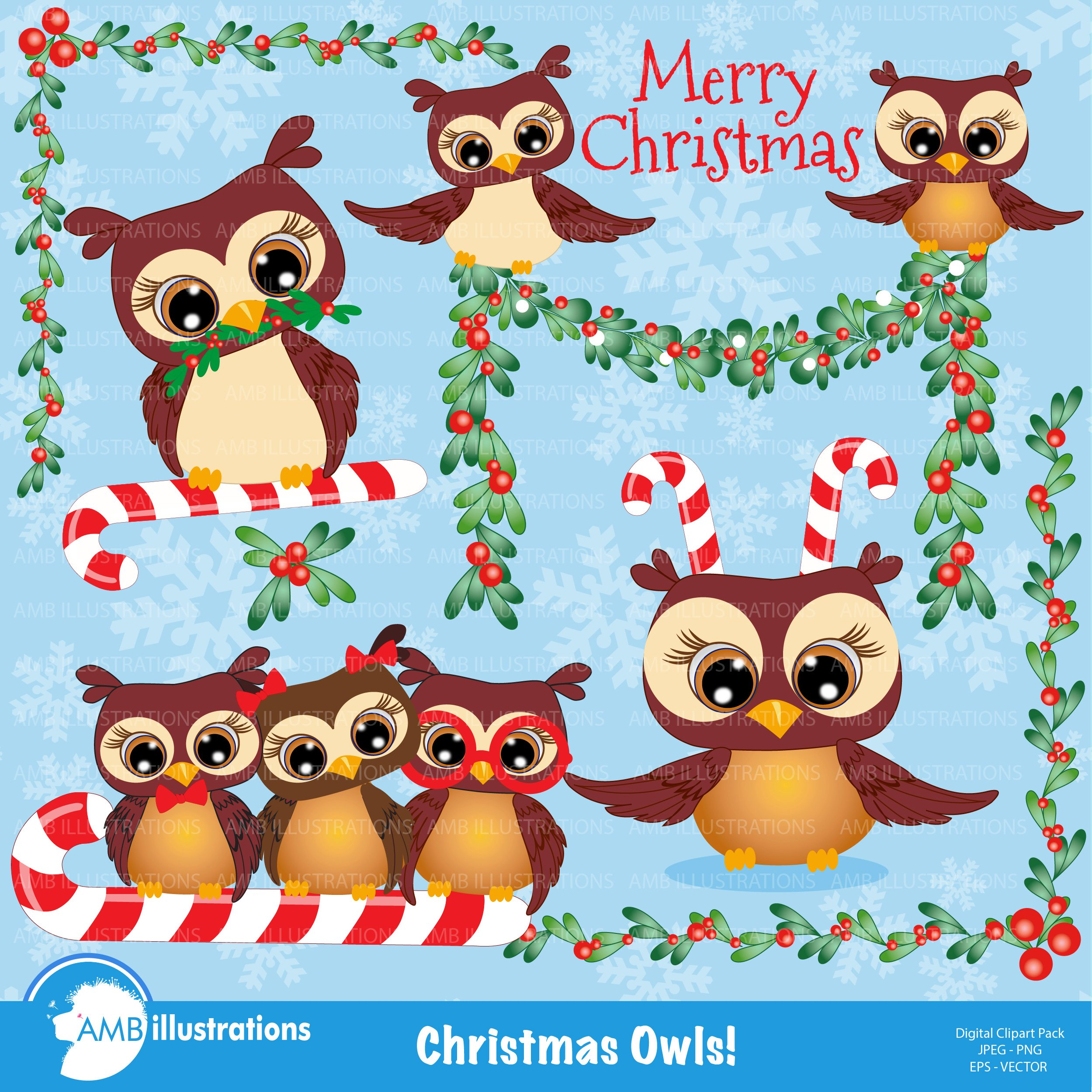 christmas owls clipart 278 illustrations creative market - Owl Christmas