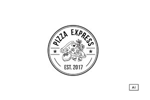 Pizza Retro Badge Logo Template