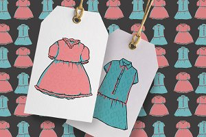Pink and blue cute dresses set