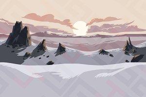 Snow mountains parallax background