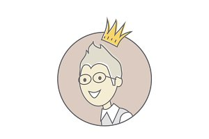 Young Man with Crown on His Head Avatar Icon