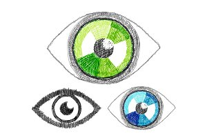 Set of vector hand-drawn human eye