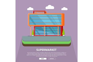Supermarket Web Template in Flat Design.