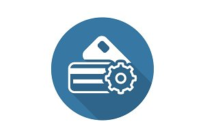 Credit Card Processing Icon. Flat Design.