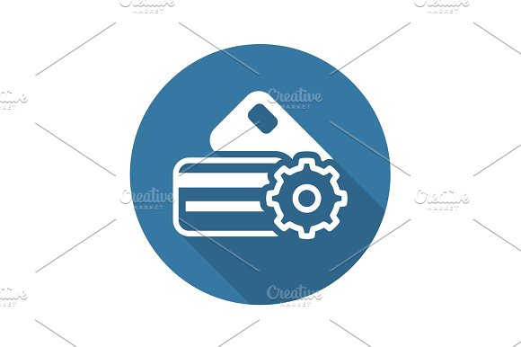 Credit Card Processing Icon Flat Design