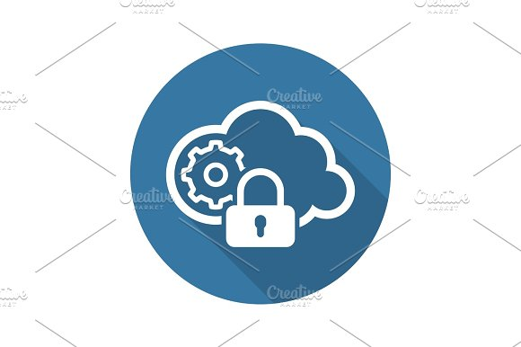 Secured Cloud Processing Icon Flat Design