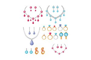 Beautiful Jewelry Accessories Icons Set