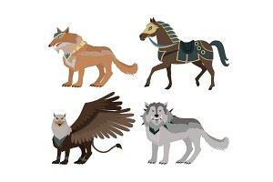 Fantastic Wolf Vector Illustration in Flat Design.