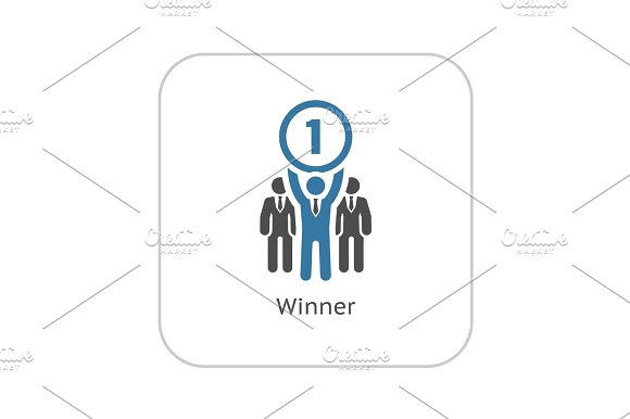 Winner Icon Business Concept Flat Design