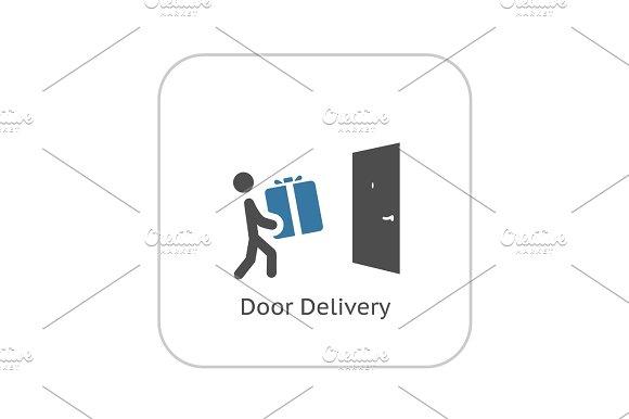 Door Delivery Icon Flat Design