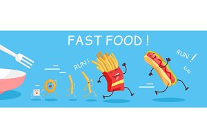 Fast Food Conceptual Banner. Happy Meal for Child