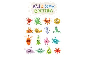 Good Bacteria and Bad Bacteria Cartoon Characters