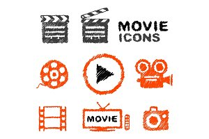 Set of vector hand-drawn movie icons