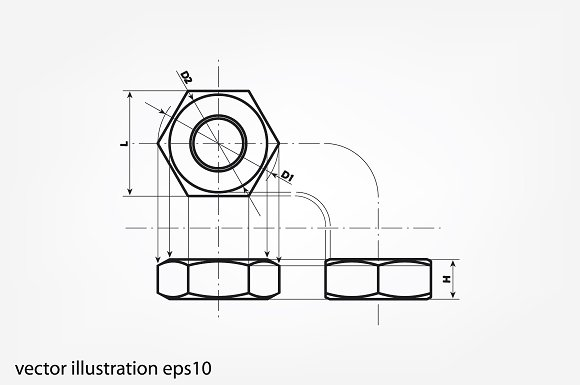 Drawing Nut Three Projection