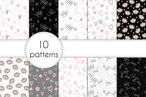 10 hand drawn seamless patterns!