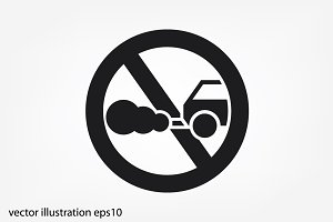 Cars circle of no smoking sign