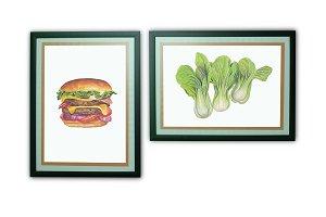 Burger Watercolor Painting