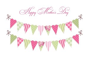 Cute vintage Happy Mother's Day card as heart shaped shabby chic textile bunting flags