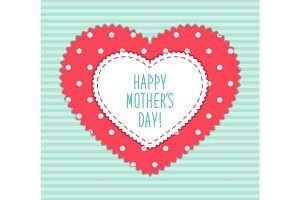 Cute Mothers Day card with heart shaped frame and hand written text