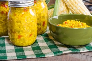 Corn relish in green bowl