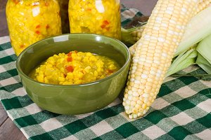 Jars of relish with corn