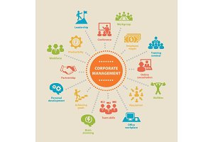 Corporate management. Concept with icons.