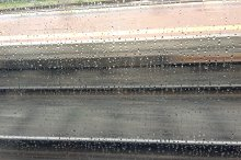 railway tracks seen from a moving train background