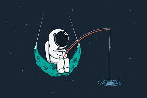 Spaceman with fishing rod