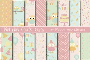 Birthday owls-girls paper