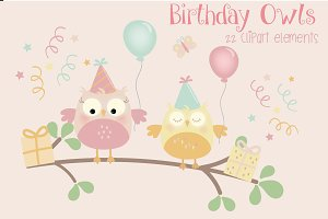Birthday owls -girls clipart