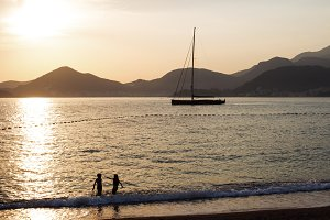 Yacht in the Adriatic sea at sunset