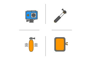 Action camera color icons set