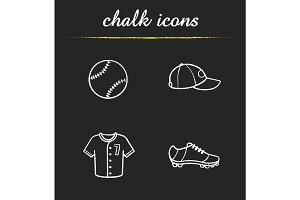 Baseball chalk icons set