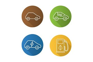 Eco friendly cars. Flat linear long shadow icons set