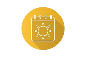 Summer season flat linear long shadow icon