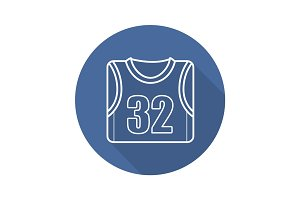 Basketball player's shirt. Flat linear long shadow icon