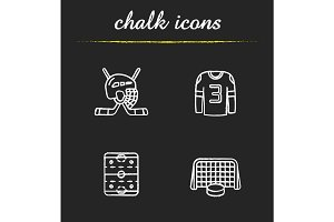 Hockey chalk icons set