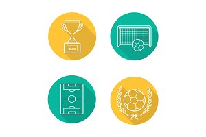 Soccer championship flat linear long shadow icons set