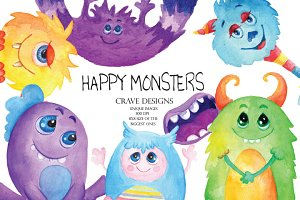Happy Monsters Clip Art