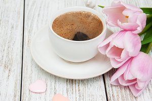 Coffee and tulips