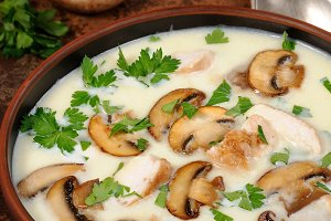 Soup puree from of champignons