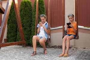 Teenagers with gadgets
